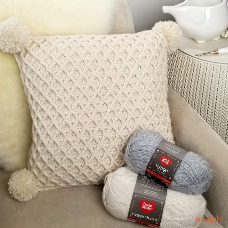 Hygge Diamond Pillow - made with 2 kinds of Red Heart Yarn for max texture!