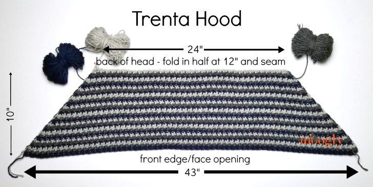 Trenta Hood Schematic - free crochet pattern on Moogly