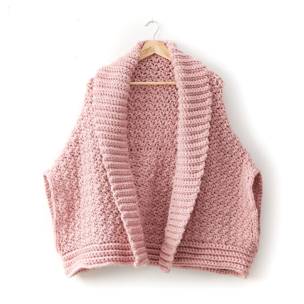 Bernat Origami Cardigan - free crochet pattern on Yarnspirations.com