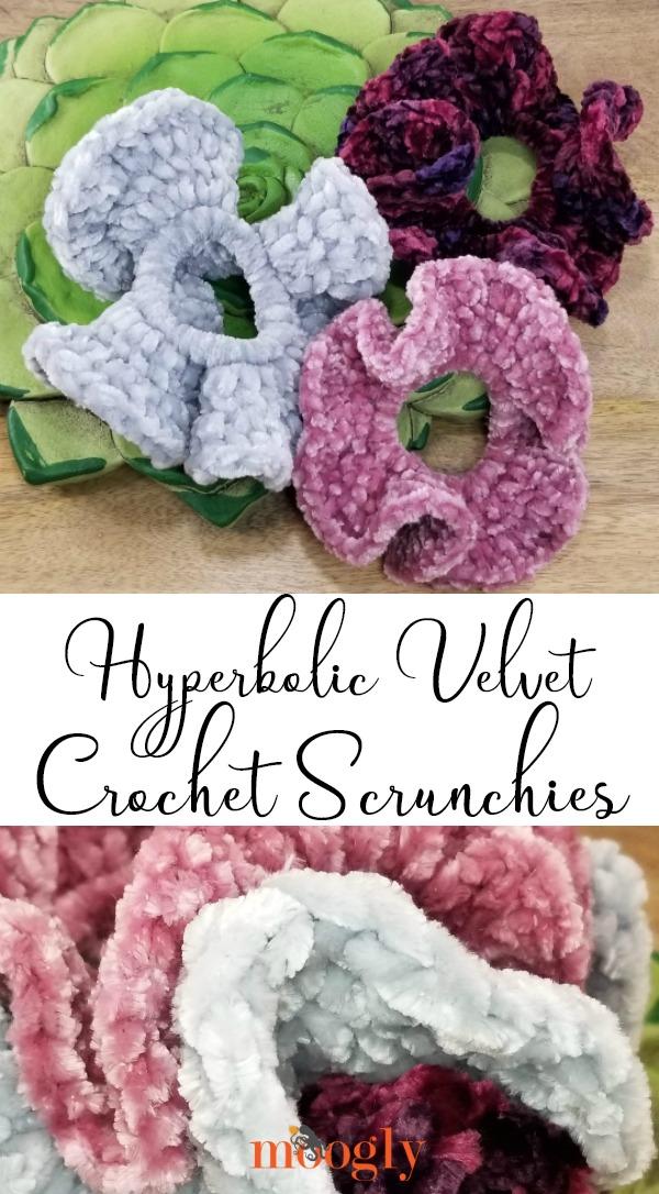 Hyperbolic Velvet Scrunchies - make them with Bernat velvet yarns on Moogly!