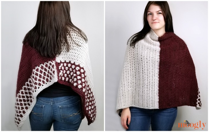 Moroccan Weekend Wrap - free crochet pattern on Moogly - so many ways to wear it!