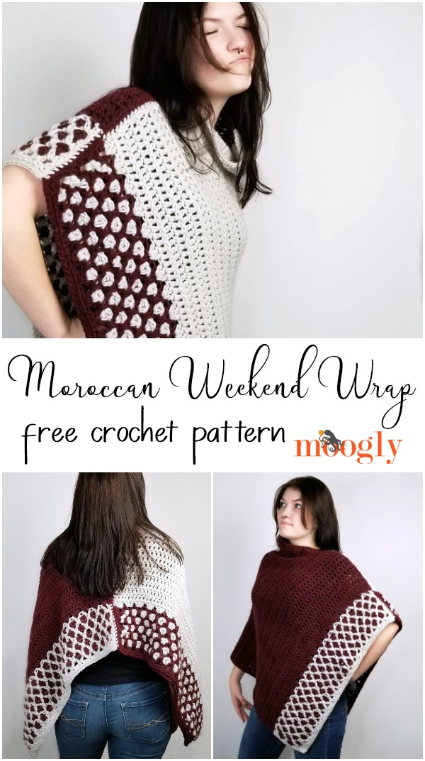 Moroccan Weekend Wrap - free crochet pattern on Moogly featuring Patons Alpaca Blend, in 2 sizes