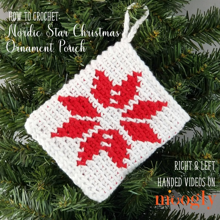 Nordic Star Christmas Ornament Pouch Tutorial - right and left-handed videos on Moogly!