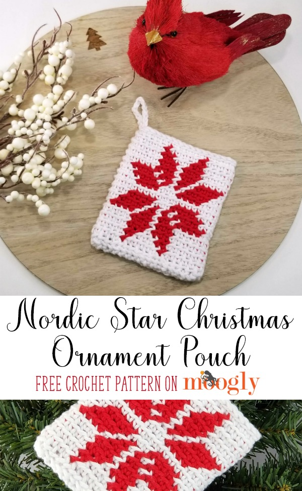 Nordic Star Christmas Ornament Pouch - get the free crochet pattern on Moogly!