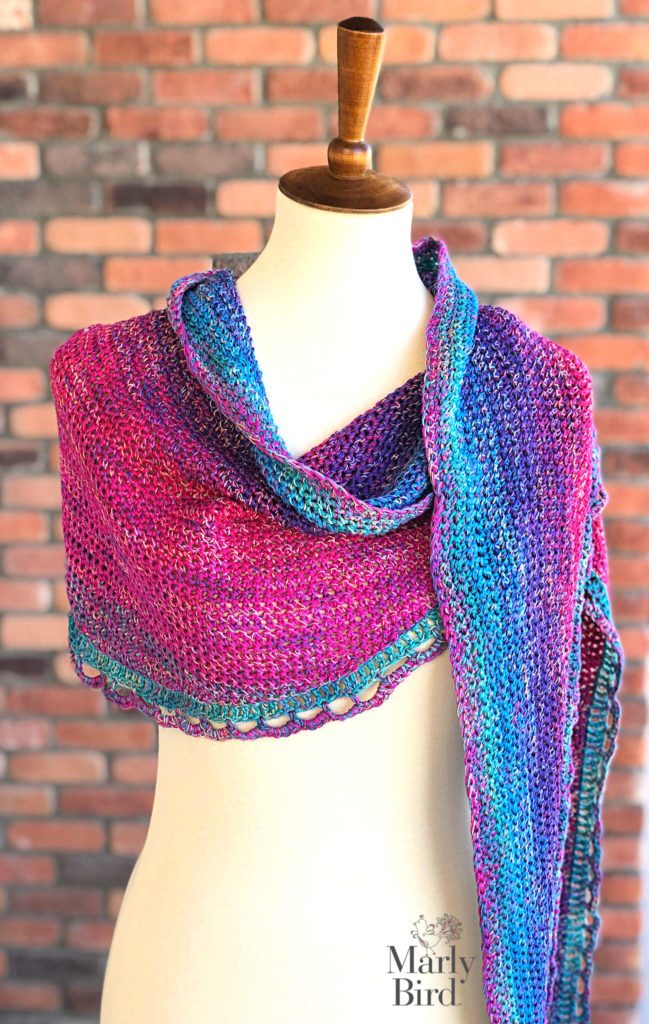 Rainbow Sprinkles Crescent Shawl - free crochet pattern by Marly Bird!