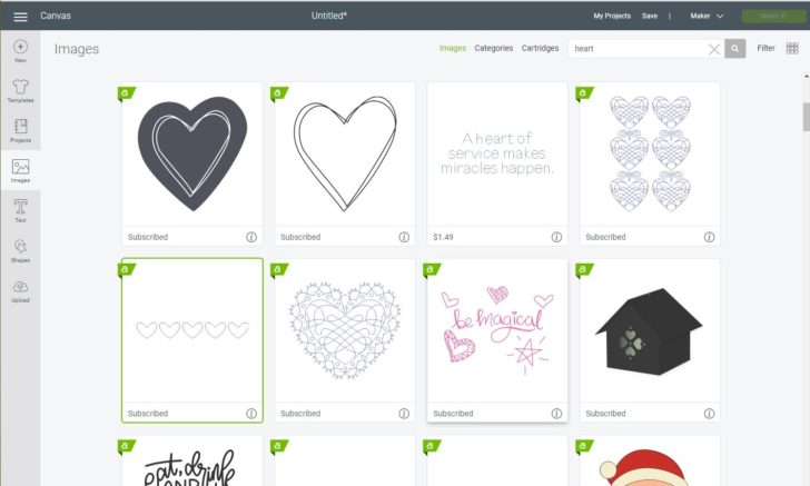 Find great shapes in Cricut Design Space