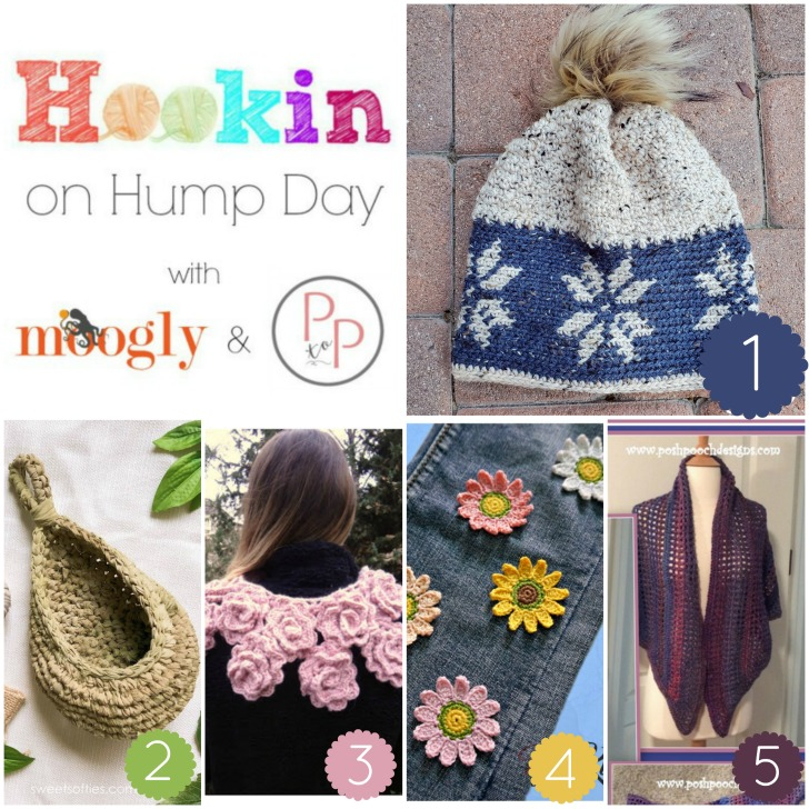 Hookin On Hump Day Link Party #207- get all these patterns FREE on Moogly and Petals to Picots!