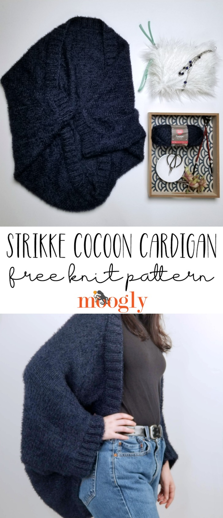 trikke Cocoon Cardigan - free knit pattern on Moogly!
