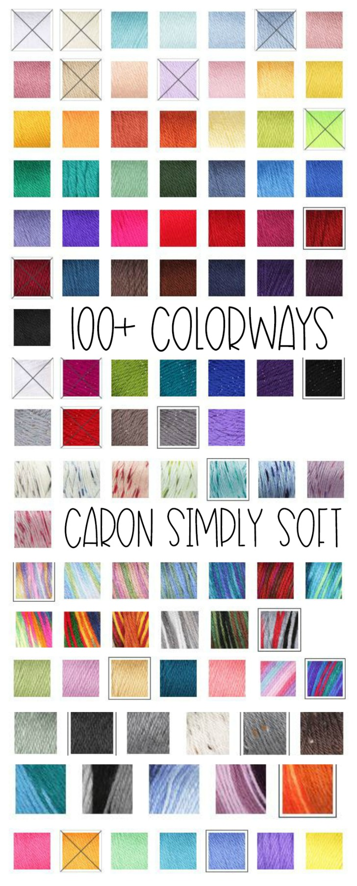 100+ Colorways of Caron Simply Soft - get them all on Yarnspirations!