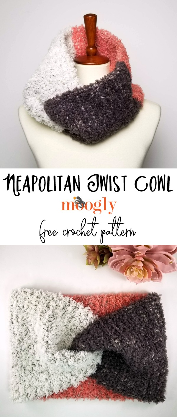 Neapolitan Twist Cowl - free crochet pattern on Moogly