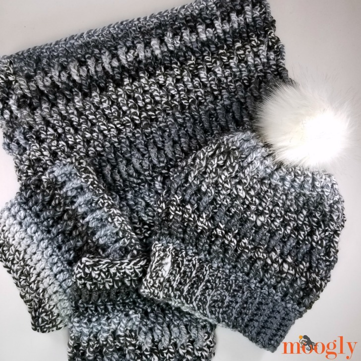 Smokestack Set - get the hat, boot cuffs, and cowl patterns, all free on Moogly!