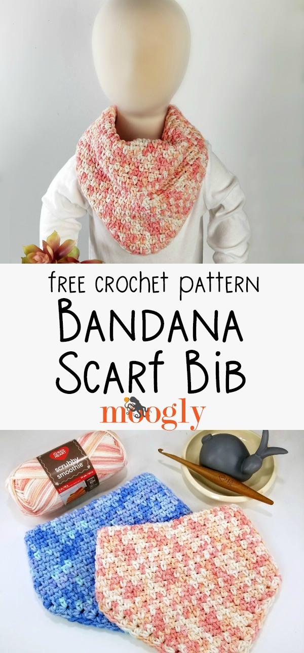 Bandana Scarf Bib - free crochet pattern on Moogly
