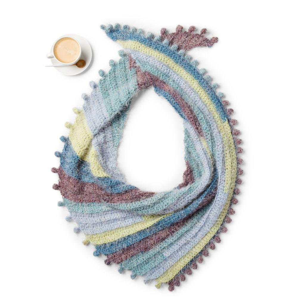 Caron Crochet Bobble Fringe Shawl- free crochet pattern!