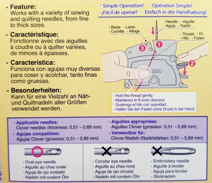 Clover Desk Needle Threader Instructions