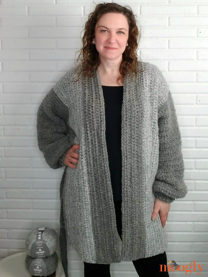 Cuff to Cuff Colorblock Cardigan - modeled 1 WEB