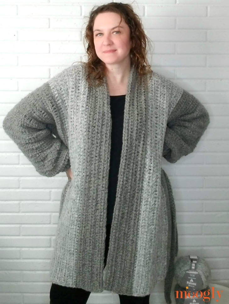 Cuff to Cuff Colorblock Cardigan - modeled 3 WEB