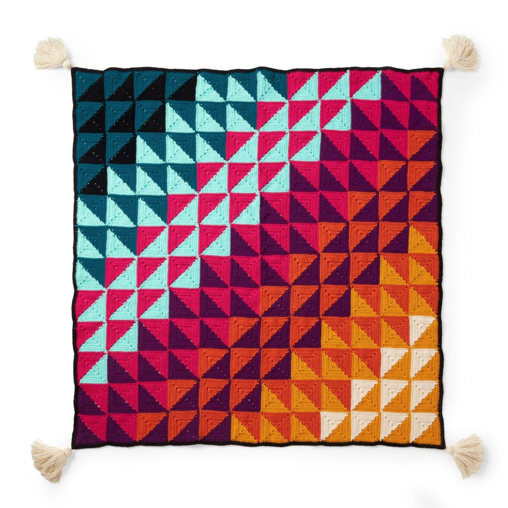 Red Heart Prismatic Chromatic Throw - free crochet pattern