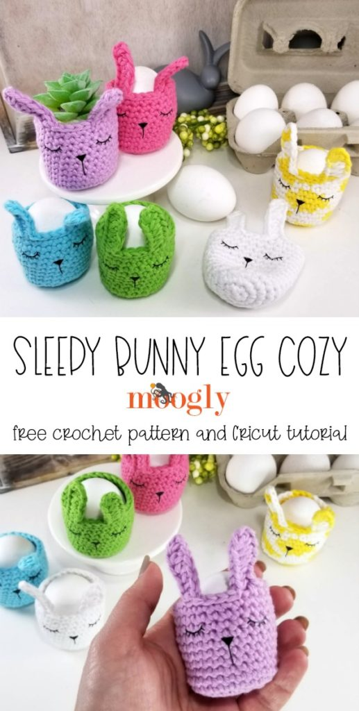 Sleepy Bunny Egg Cozy - get the free crochet pattern and Cricut tutorial on Moogly!