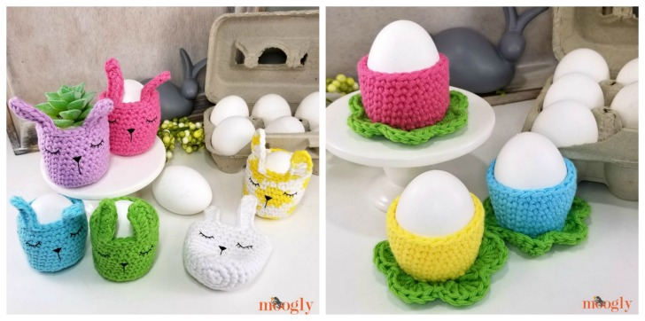 Sleepy Bunny and Simple Flower Egg Cozies on Moogly