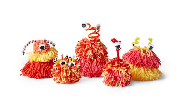 How to Make Pom Pom Aliens - Free Yarn Crafts for Kids on Moogly