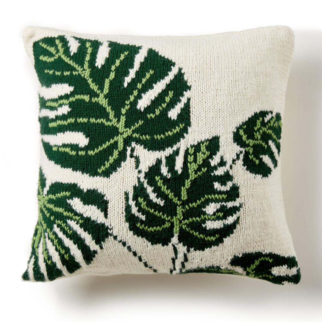 Bernat Tropical Leaf Knit Pillow - free pattern