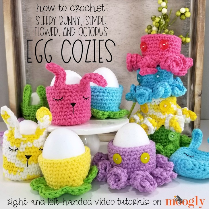 Egg Cozies Tutorial - learn to make 3 types of crochet Easter Egg Cozies on Moogly, in right and left-handed video tutorials!