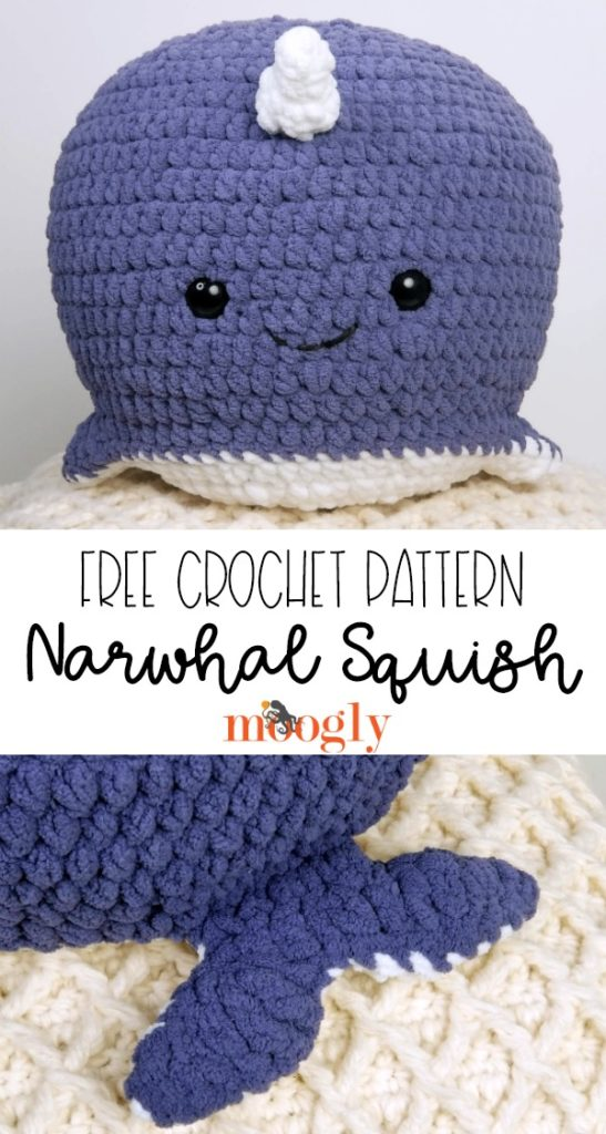 Narwhal Squish - Free Crochet Pattern on Mooglyblog.com