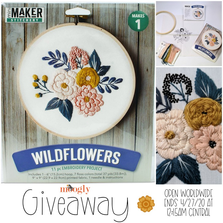 Wildflowers Embroidery Stitch Kit Giveaway - Moogly