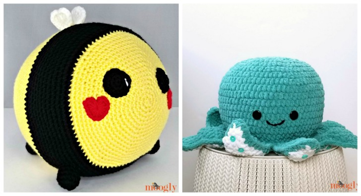 Benevolent Bumble Bee and Octopus Squish - both free crochet patterns on Moogly!