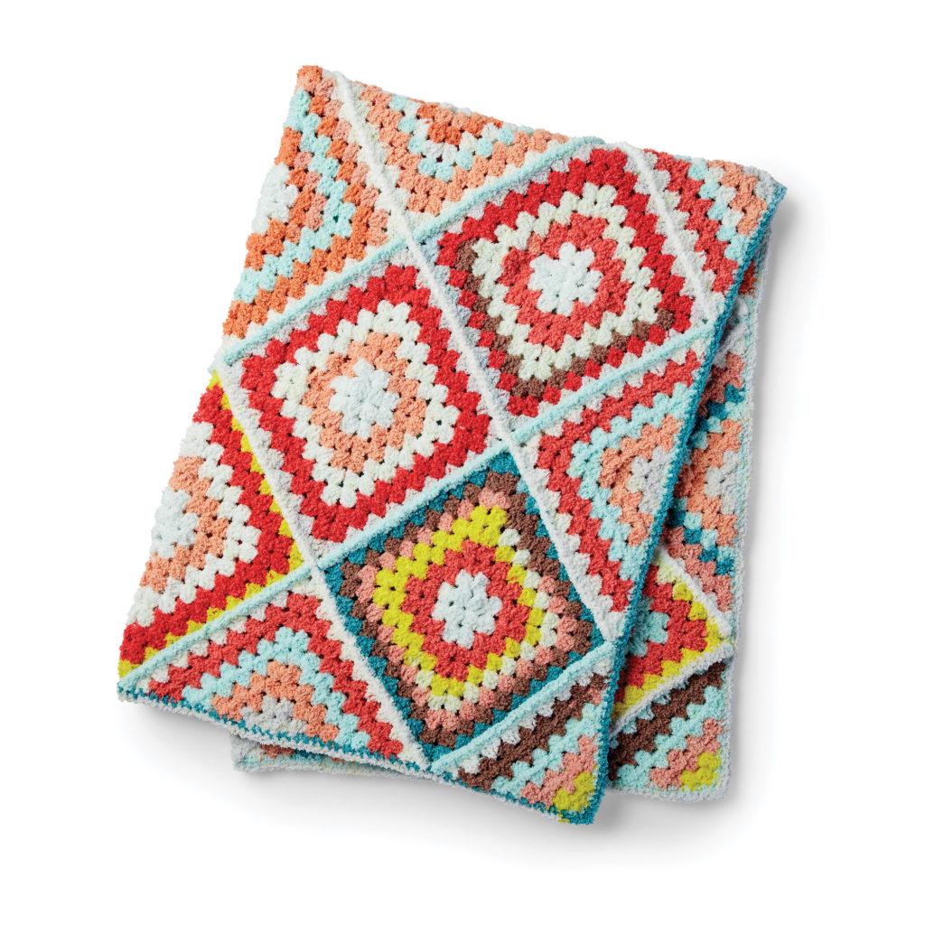 Bernat Random Granny Crochet Afghan - free pattern