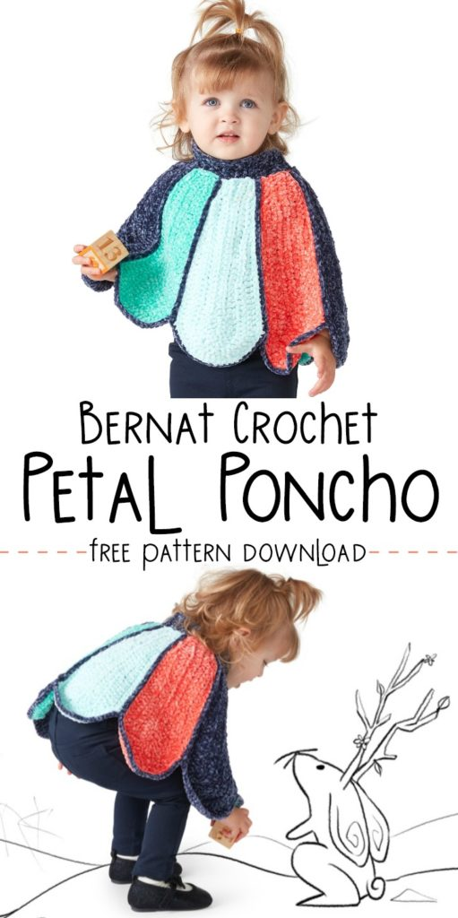 Bernat Crochet Petal Poncho - free pattern in 2 sizes!