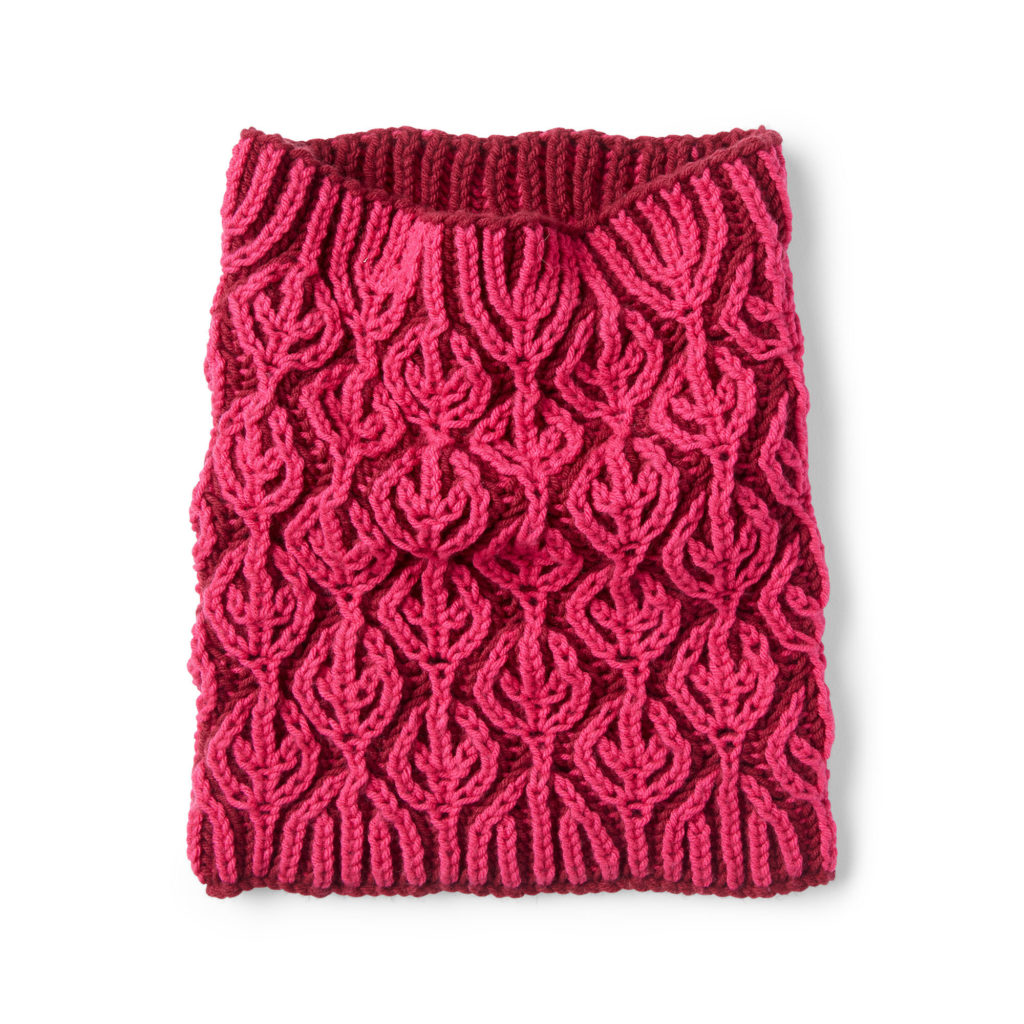 Caron Burning Up Brioche Knit Cowl - free pattern!
