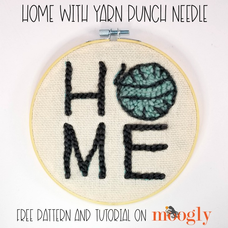 Home with Yarn Punch Needle Pattern and Tutorial - free on Moogly!