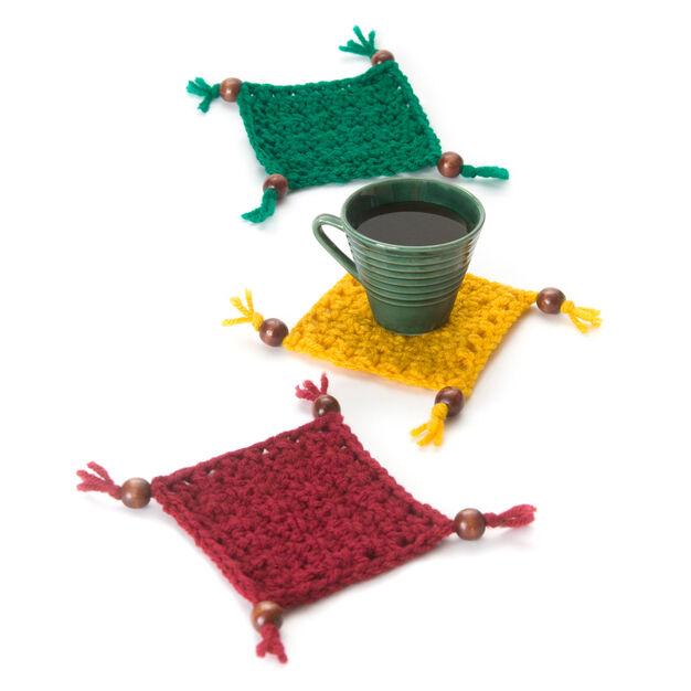 Red Heart Coaster Set -free crochet rug mug pattern!