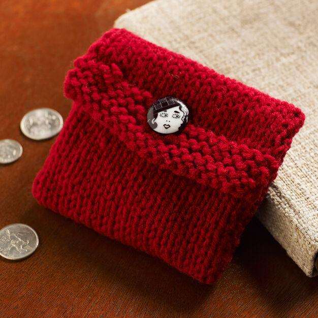 Red Heart Knit Change Purse - free pattern, so handy!