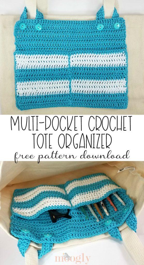 Multi-Pocket Crochet Tote Organizer