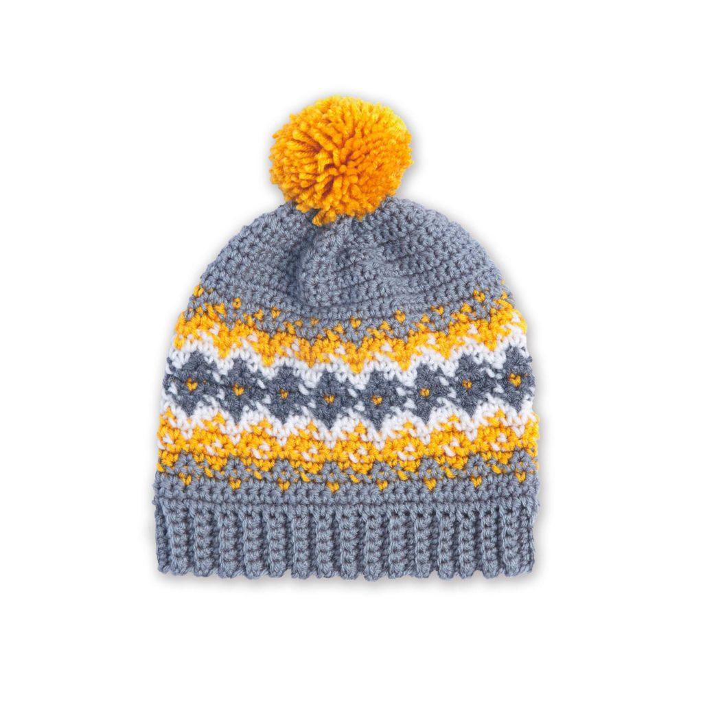 Red Heart Crochet Colorwork Family Hats - free pattern!