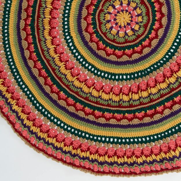 Red Heart Circular Fall Mandala Throw - free pattern!