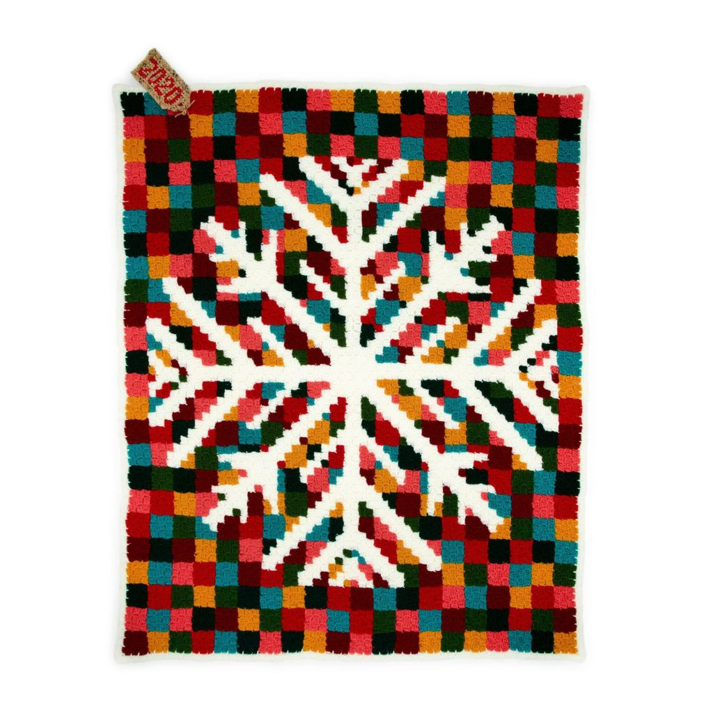 Red Heart Digital Snowflake C2C Crochet Blanket - free pattern!