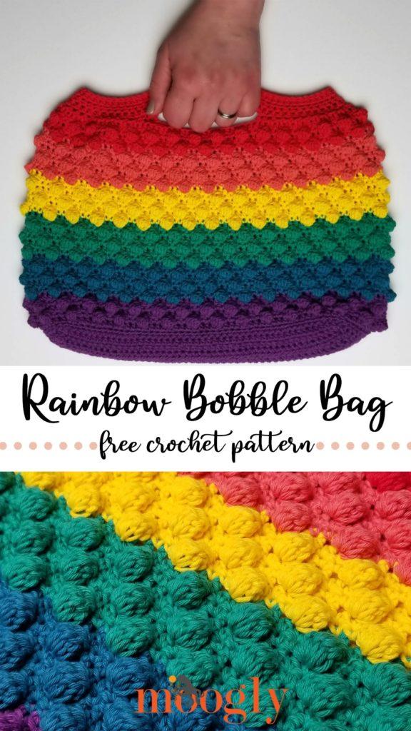 Rainbow Bobble Bag - free pattern on Moogly!