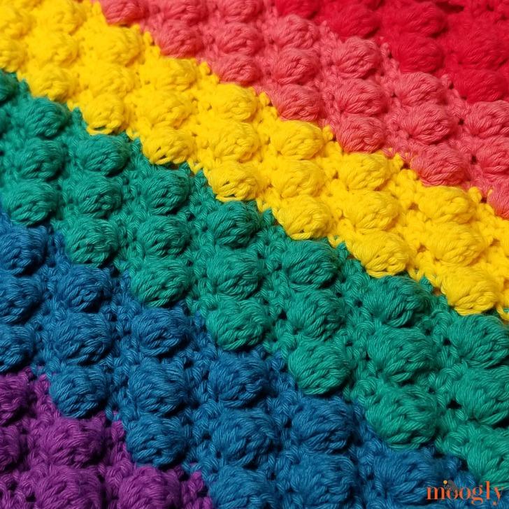 Rainbow Bobble Bag - closeup
