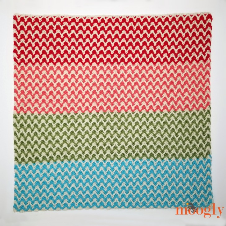 Bright Chevron Borderless Blanket - laid flat