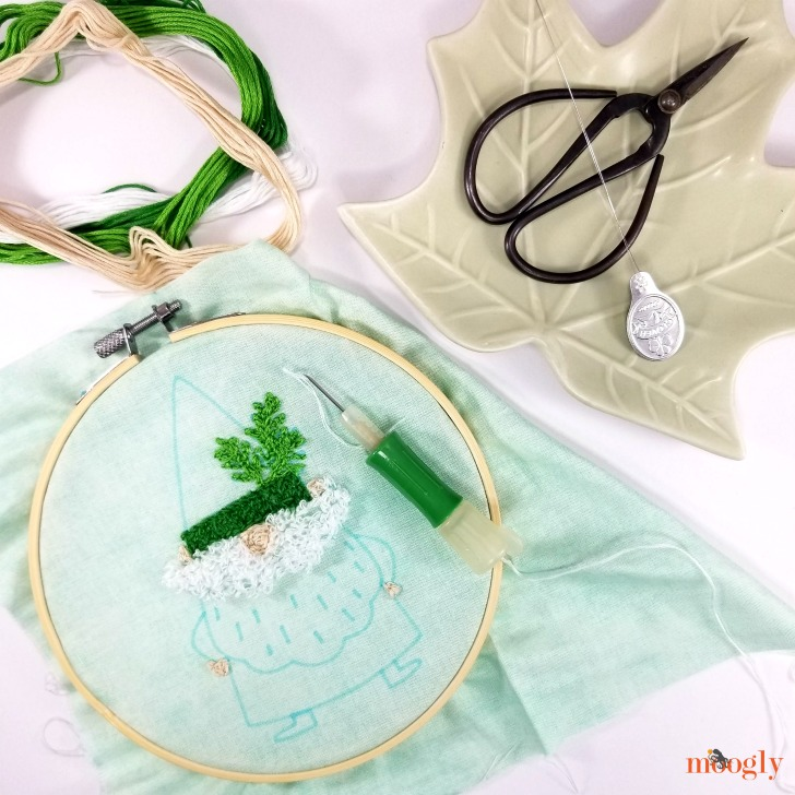 Clover Embroidery Stitching Tool - Review and Giveaway on Moogly - project in progress