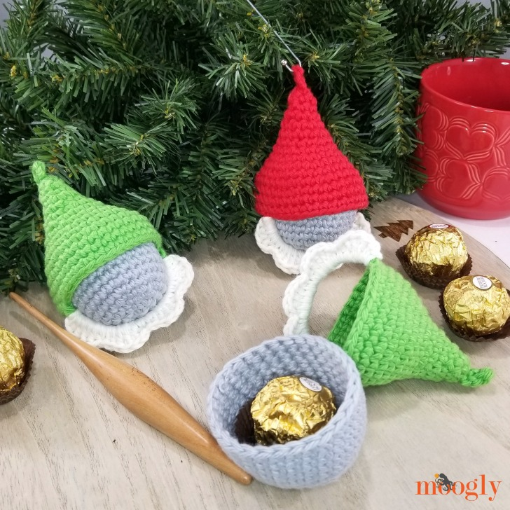 Gnome Candy Ornaments - on table