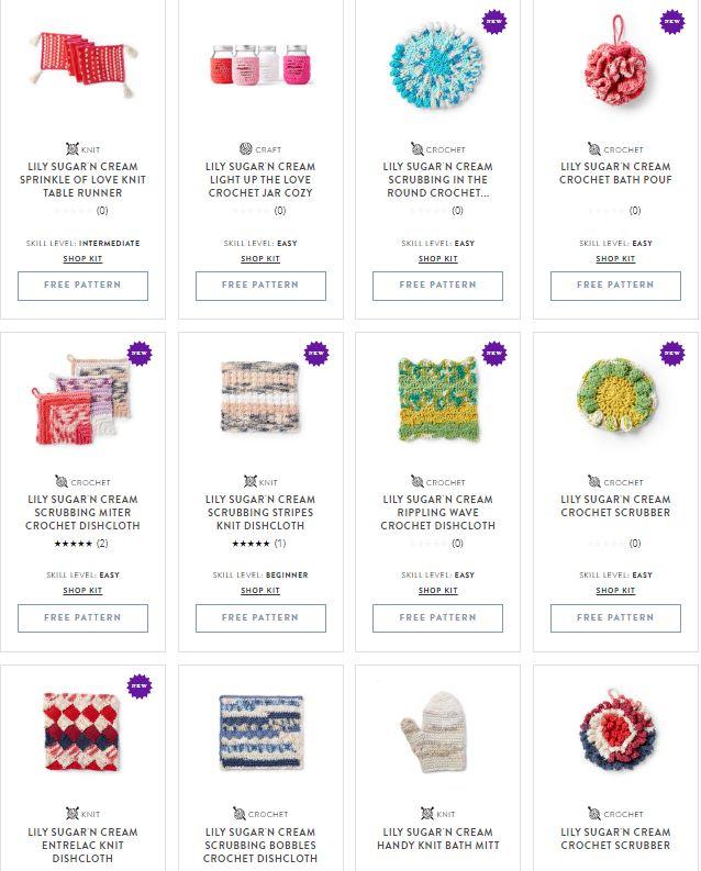 450+ Free Patterns using Lily Sugar'n Cream