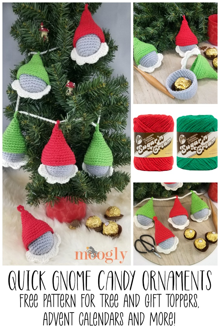 Quick Gnome Candy Ornaments - Free Crochet Pattern on Moogly