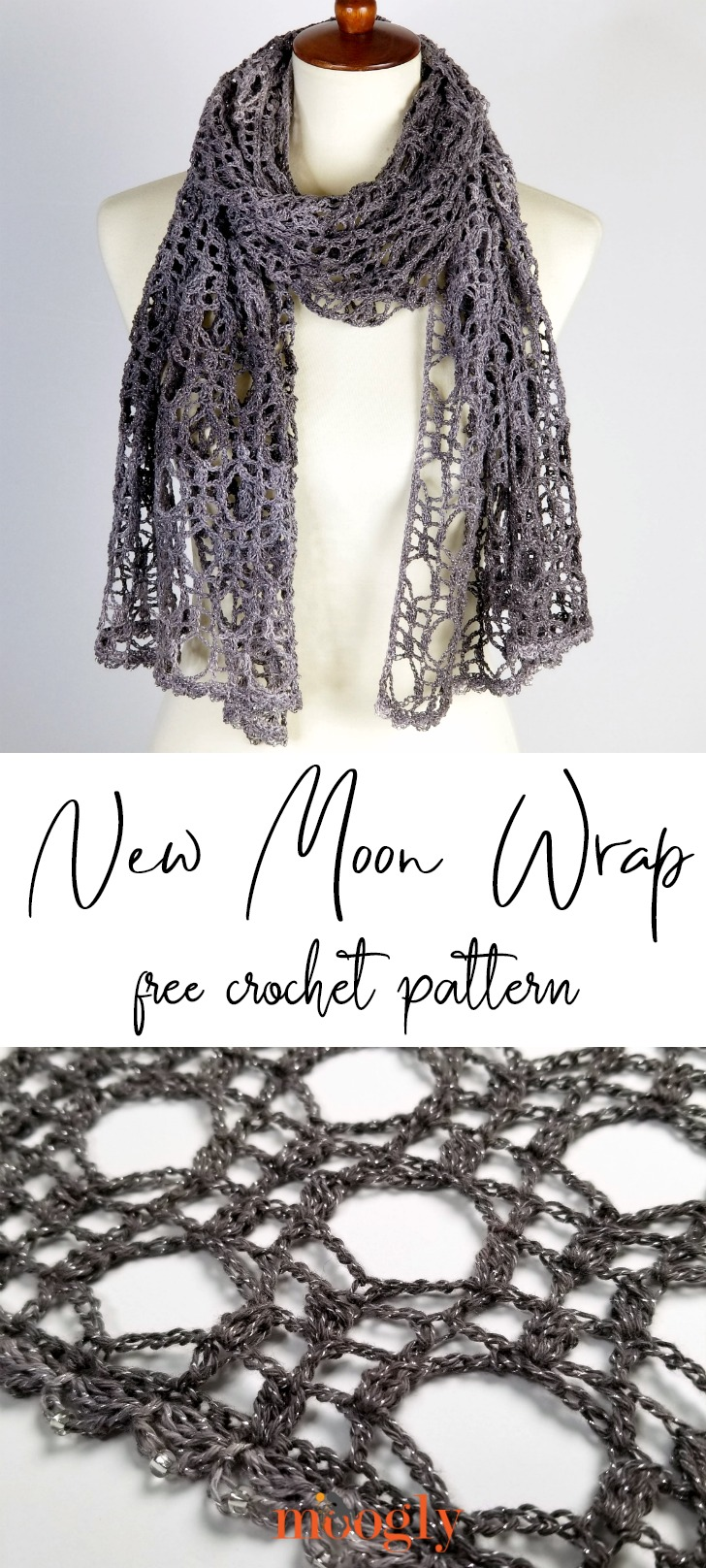 New Moon Shawl - get the free crochet pattern on Mooglyblog.com