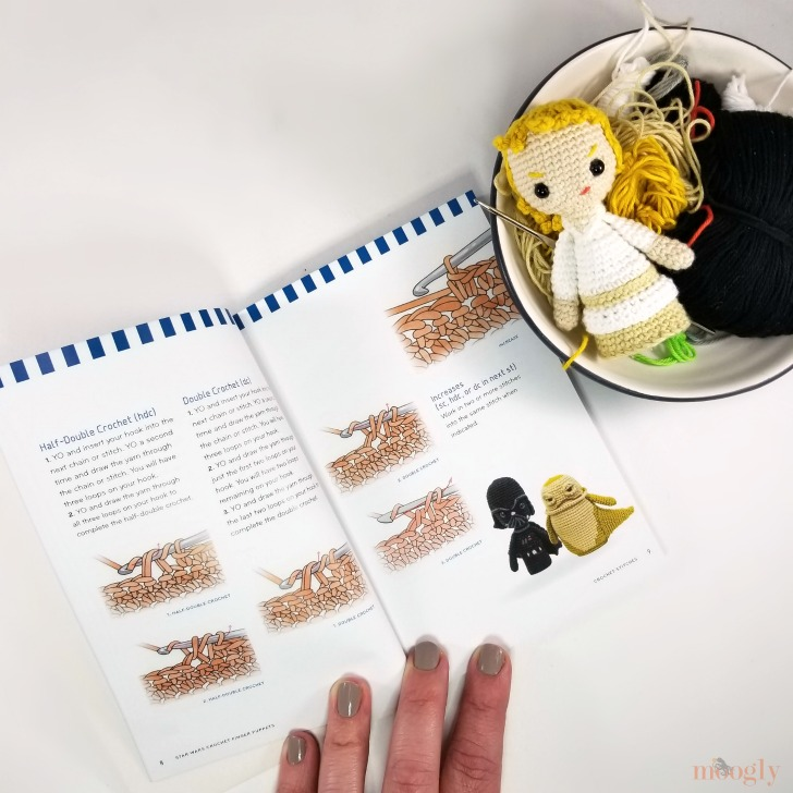 Star Wars Crochet Finger Puppets Review and Giveaway - peek inside the book