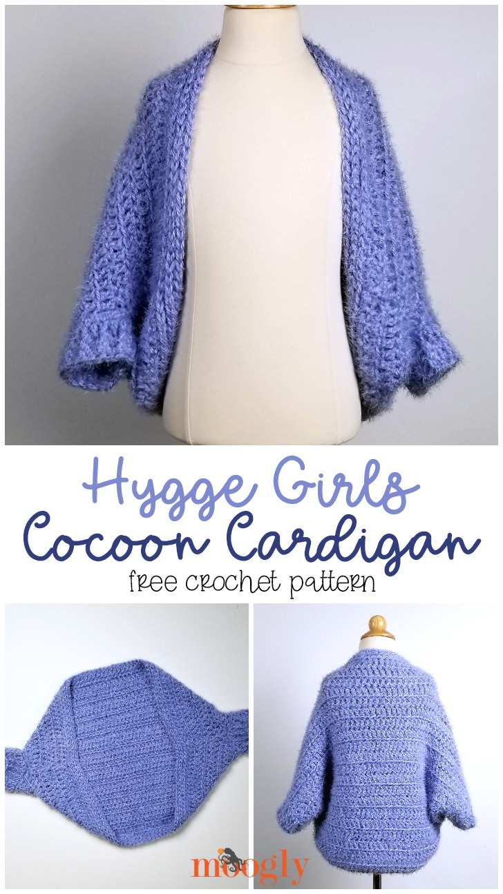 Hygge Girls Cocoon Cardigan - free pattern in girls and youth sizes on Moogly!