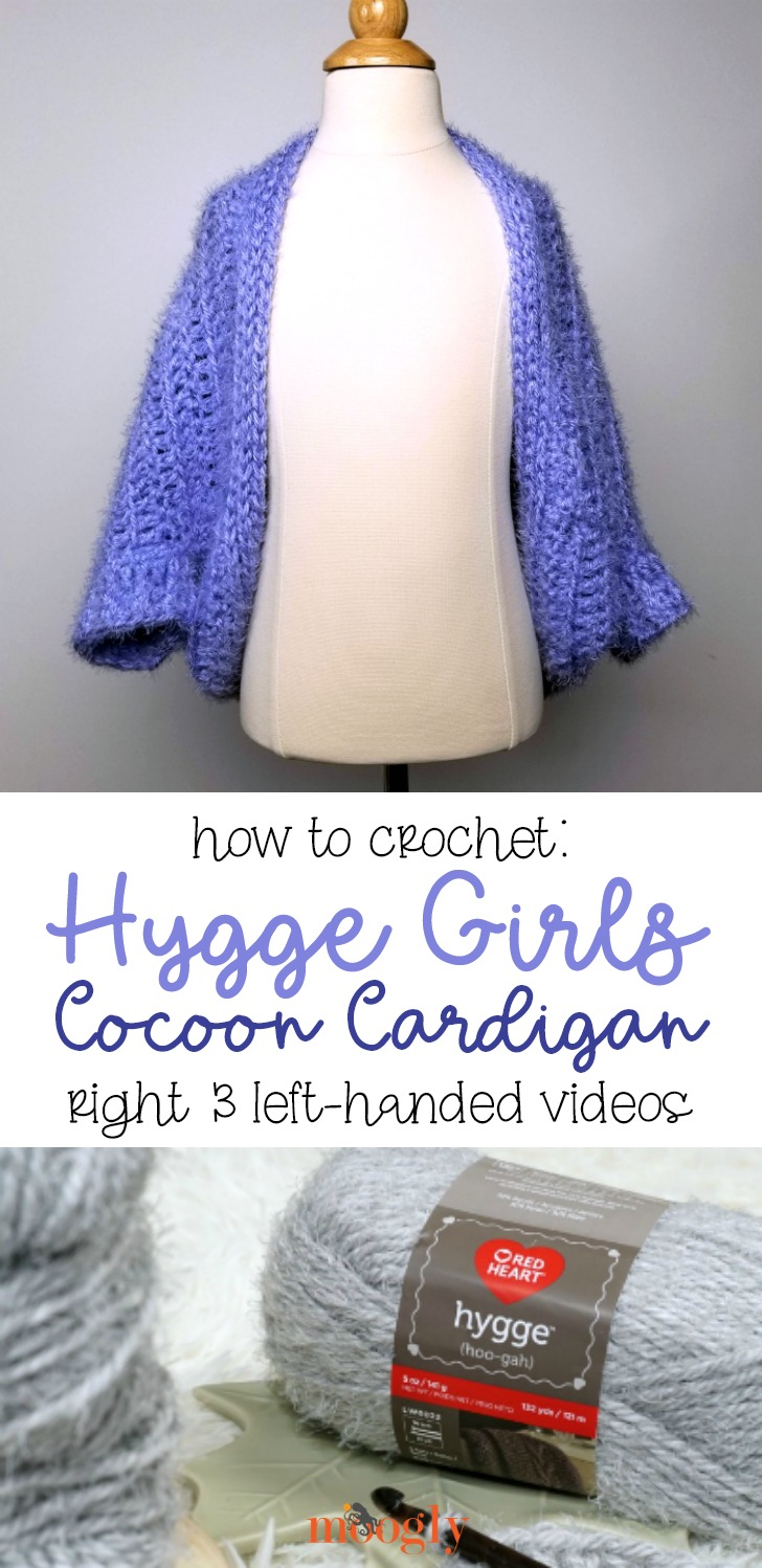 Hygge Girls Cocoon Cardigan Tutorial - right and left-handed videos on Moogly!